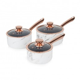Tower 3 Piece Saucepan Set Marble & Rose Gold
