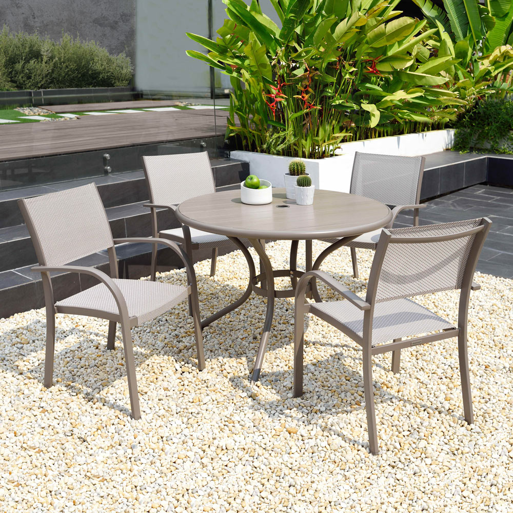 Milan Round 110cm Table & 4 Stacking Chairs