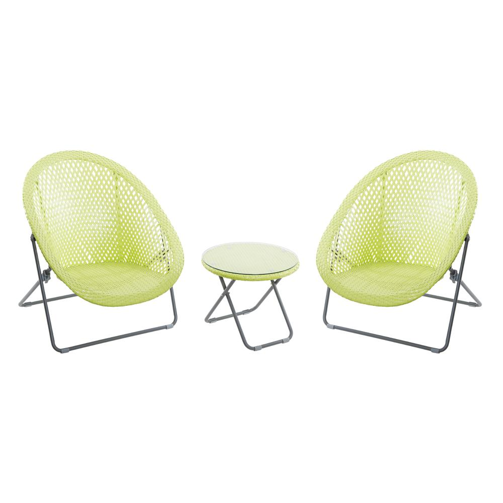Carnaby Faux Rattan Folding Lounge Set Lime
