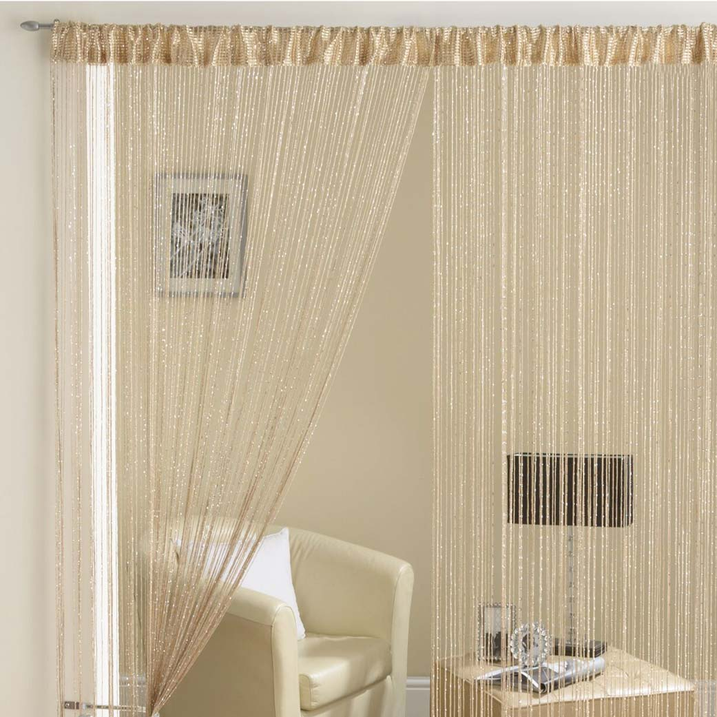 Glam Lurex String Panel Latte 90x200cm