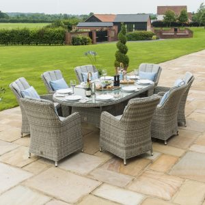 Oakham Oval Dining Set with Ice Bucket, Lazy Susan & 8 Chairs