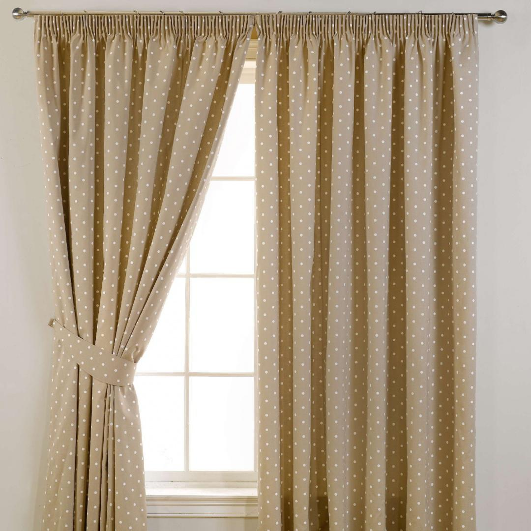 Dotty Readymade Curtains Taupe