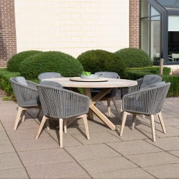 Santander Louvre Teak Dining Table & 6 Rope Dining Chairs & Lazy Susan