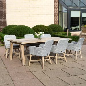 Lisboa Derby Teak Dining Table & 6 Dining Chairs