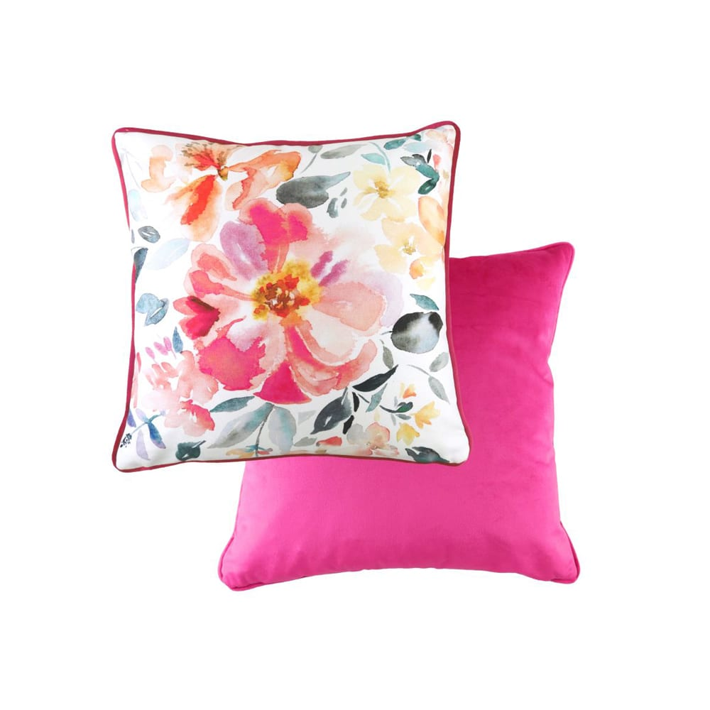 Hand Painted Floral Isla Magenta Piped 43cm Cushion