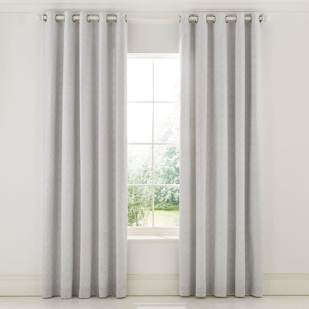 Sanderson Chiswick Grove Curtains Silver 66 x 72