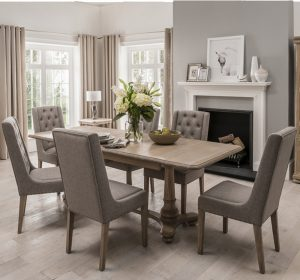Wellington Extending Dining Table & 4 Fabric Dining Chairs