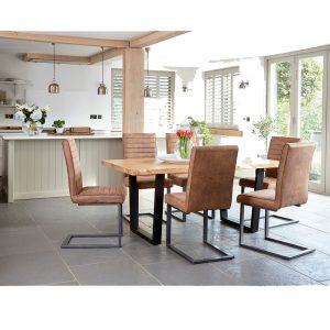 Oaklands 180cm Dining Table with Metal Legs & 4 Oaklands Dining Chairs