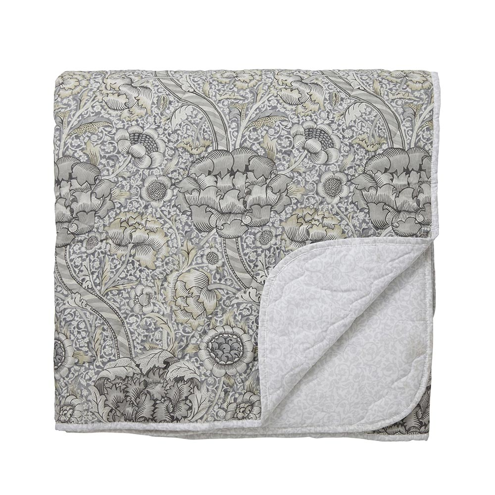 William Morris Pure Wandle Quilted Bedspread Grey