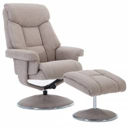 Bradfield Swivel Recliner Chair &  Footstool in Lisbon Wheat