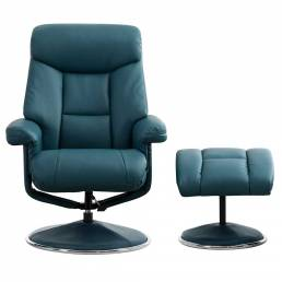 Bradfield Swivel Recliner Chair &  Footstool in Lagoon Plush