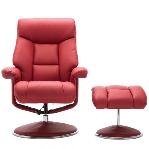 Bradfield Swivel Recliner Chair &  Footstool in Cherry Plush