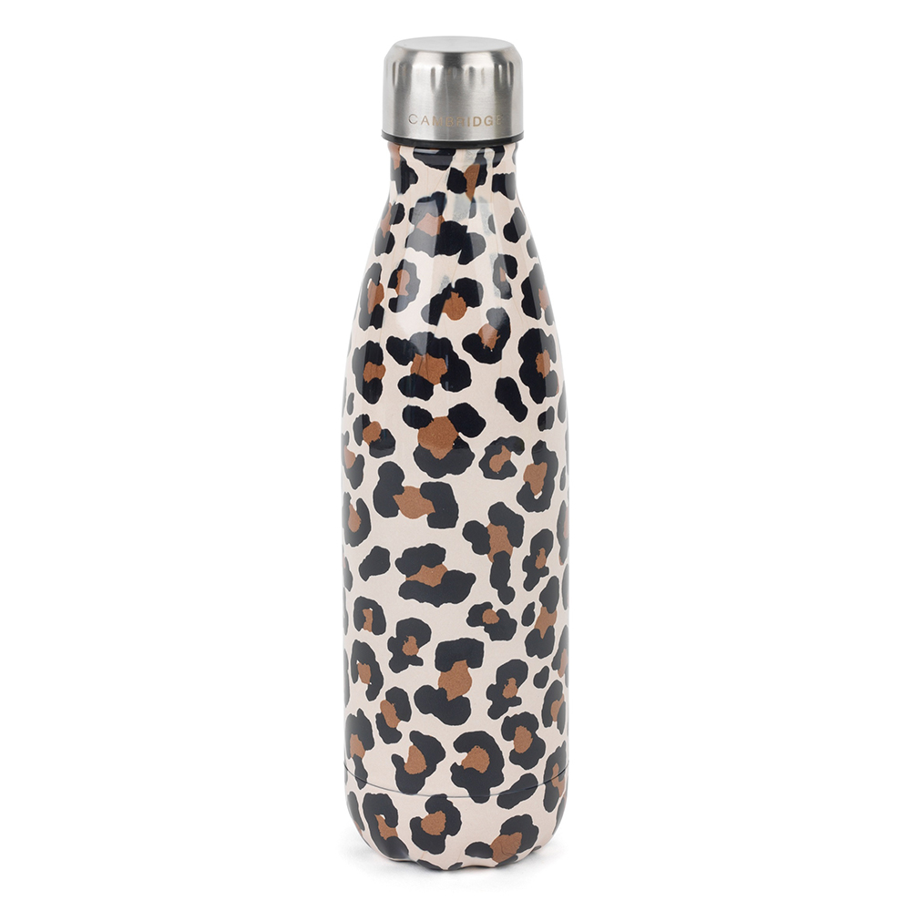 Cambridge Watercolour Leopard Flask Bottle 500ml