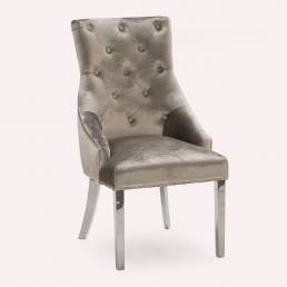 Dining Chair with Metal Legs in Brushed Velvet Champagne Fabric