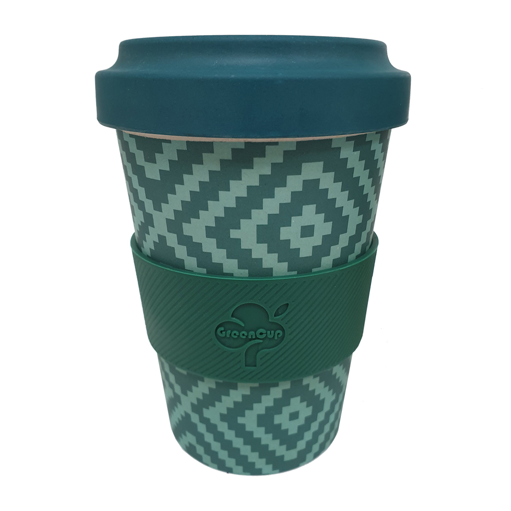Bamboo Fibre Reusable Mug Green Pattern 500ml