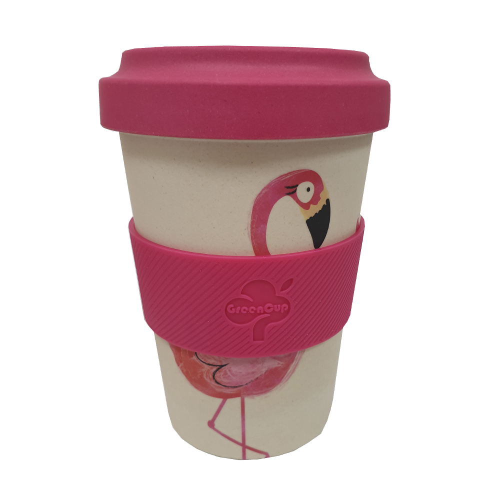 Bamboo Fibre Reusable Mug Flamingo 500ml