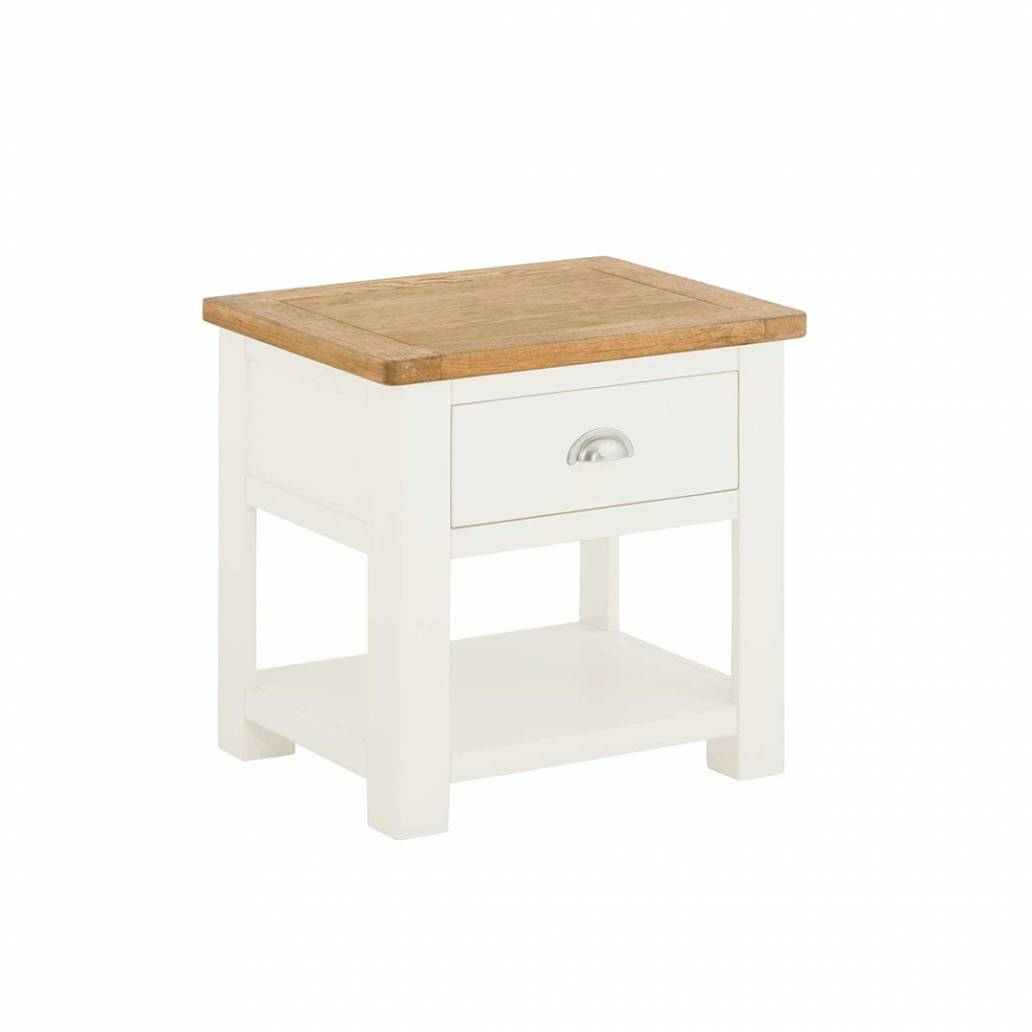Pemberley Lamp Table With Drawer White