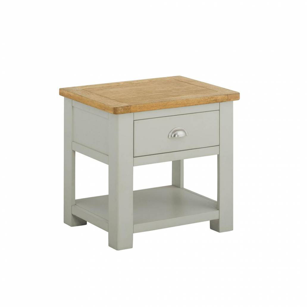 Pemberley Lamp Table With Drawer Stone