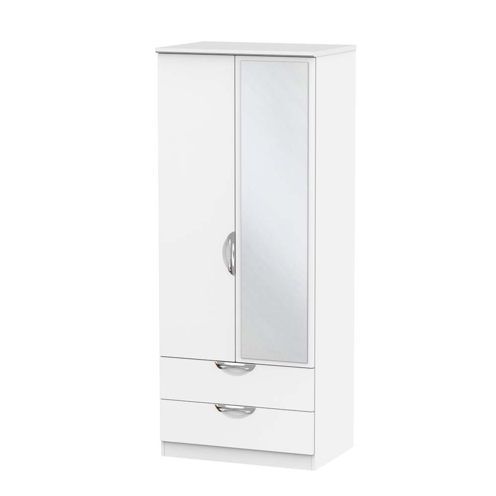 Chicago 2 Drawer Mirrored Wardrobe