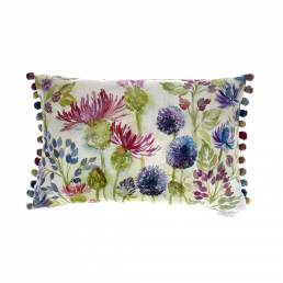 Voyage Thistles White Velvet Cushion