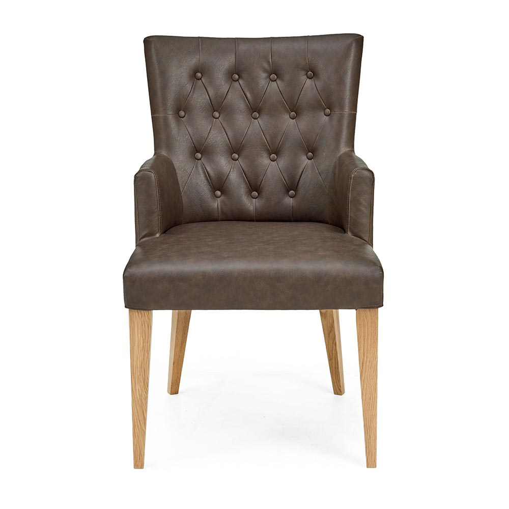 Hillingdon Oak Upholstered Arm Chair pair - Distressed Bonded Leather (Pair)