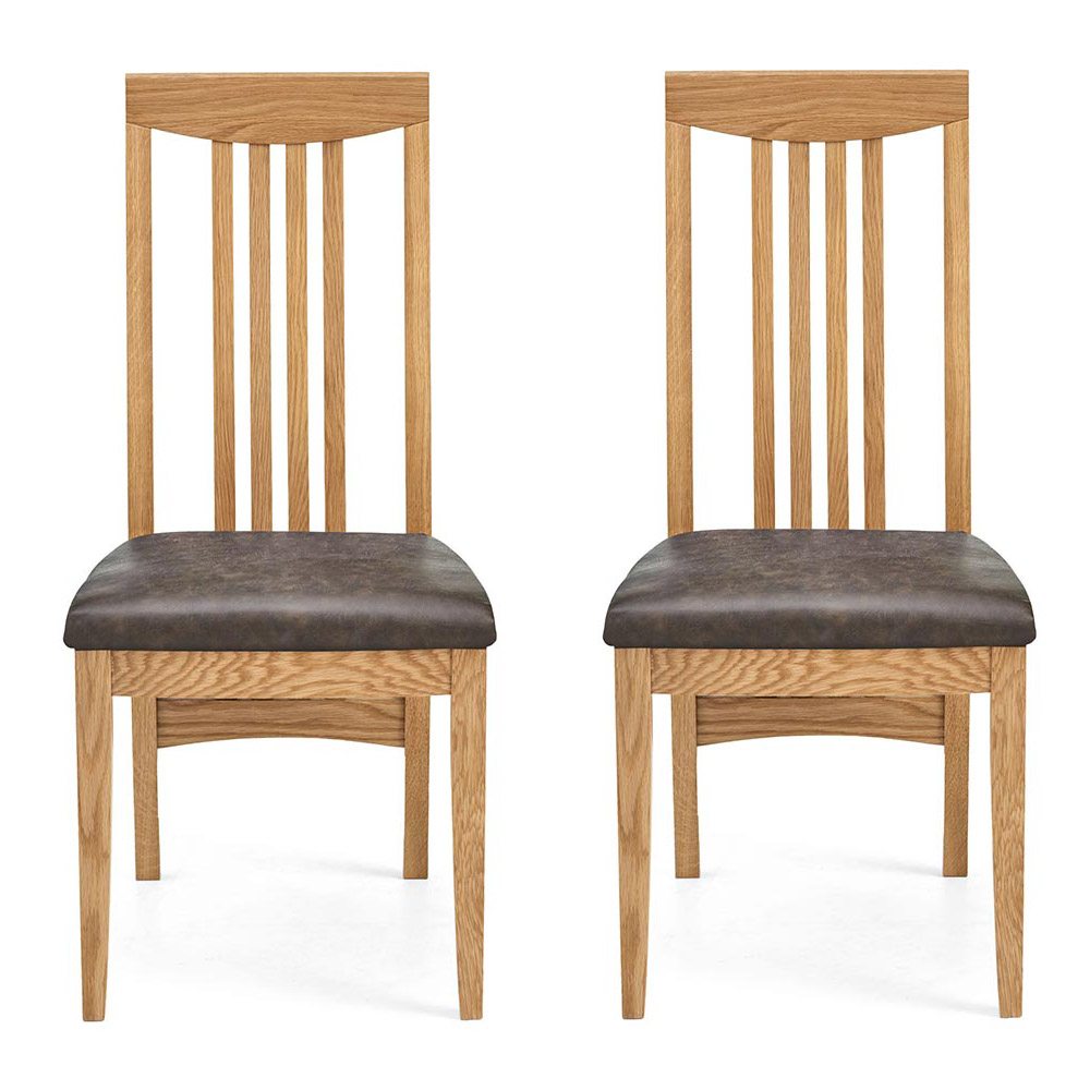 Hillingdon Oak Slatted Dining Chair - Distressed Bonded Leather (Pair)