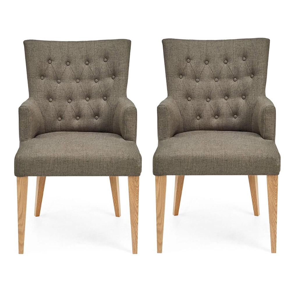 Hillingdon Oak Upholstered Arm Chair - Fabric (Pair)