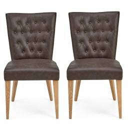 Hillingdon Oak Upholstered Chair - Distressed Bonded Leather (Pair)