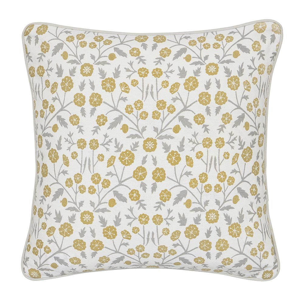Sanderson Wind Poppies Cushion Linen & Ochre 40 x 40cm