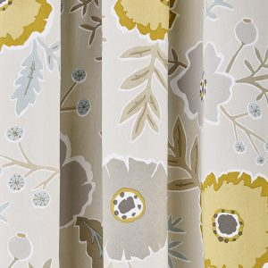 Sanderson Wind Poppies Curtains Linen & Ochre 66 x 72""