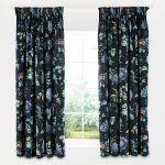 V&A Everlasting Bloom Lined Curtains Indigo 66 x 72""