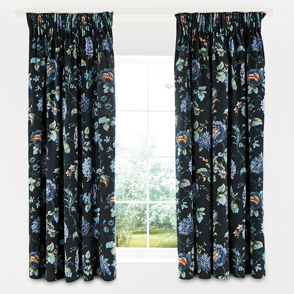 V&A Everlasting Bloom Lined Curtains Indigo 66 x 72