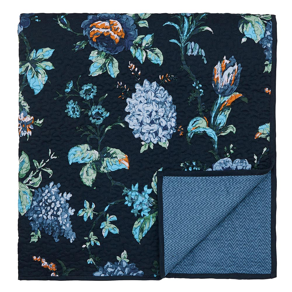 V&A Everlasting Bloom Throw Indigo 265 x 260cm