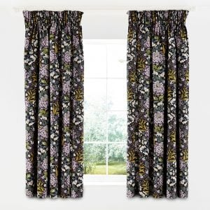 V&A Peony Trail Lined Curtains Midnight 66 x 72""