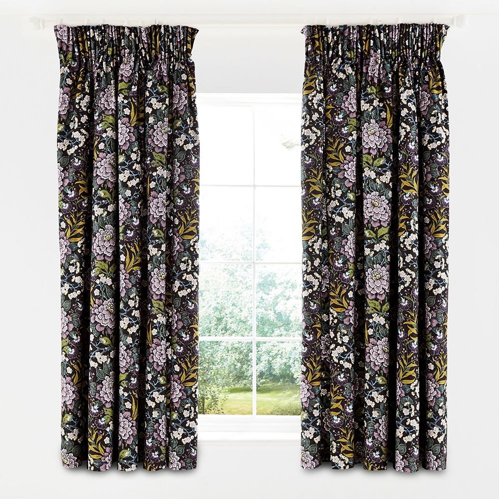 V&A Peony Trail Lined Curtains Midnight 66 x 72