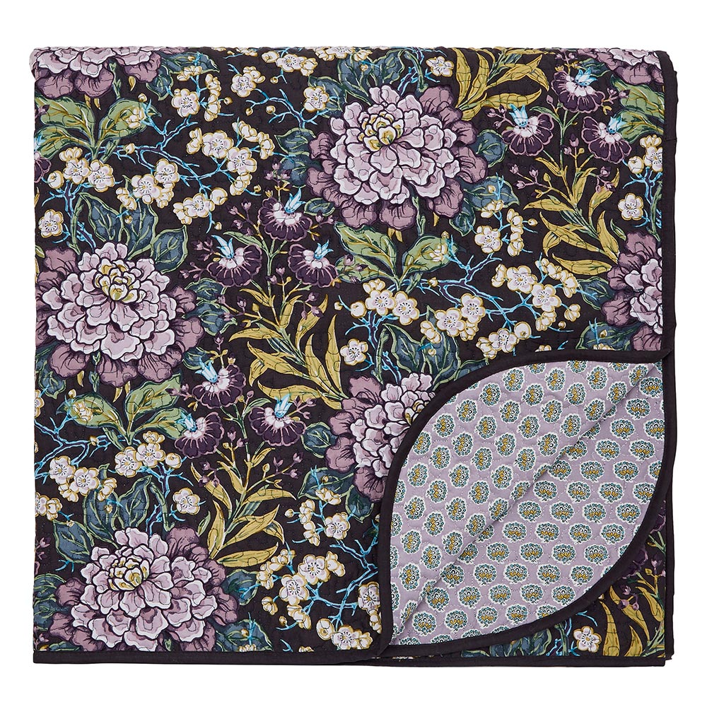 V&A Peony Trail Throw 265 x 260cm Midnight