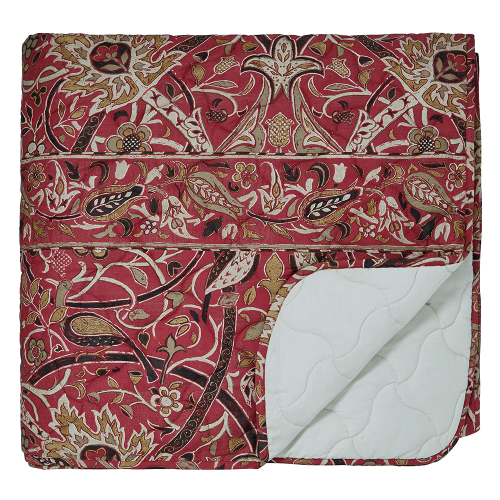 William Morris Bullerswood Quilted Bedspread Paprika 265 x 260cm