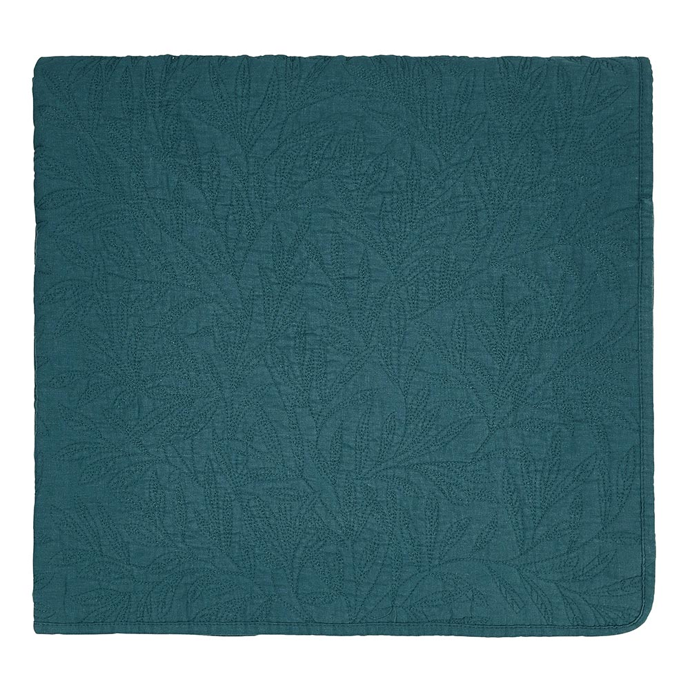 William Morris Little Chintz Quilted Throw Teal 140 x 200cm