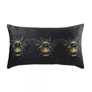 Gold Bee 30cm x 50cm Black Cushion