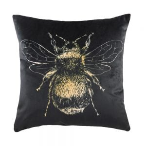 Gold Bee 43cm Black Cushion