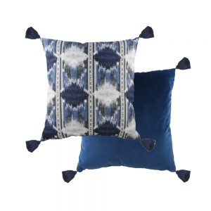 Tribal 43cm Tasselled Blue Cushion