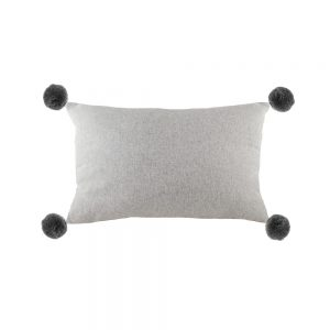 Lola 30cm x 50cm Pom Pom Light Grey Cushion