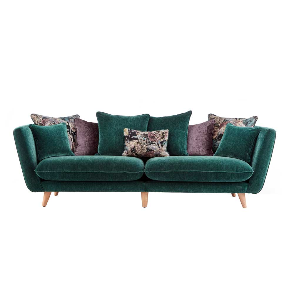 TAYLOR 4 STR GRAND Split 2 Pce PILLOWBACK SOFA / VELLUTO FABRIC