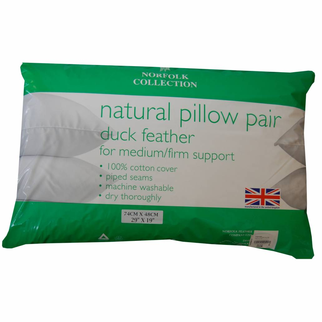 Natural Duck Feather Pillow Pair