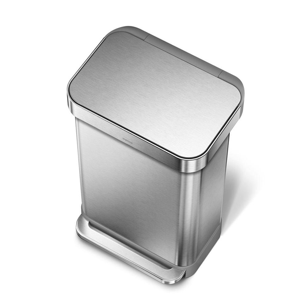 Simple Human Rectangle Pedal Bin Stainless Steel