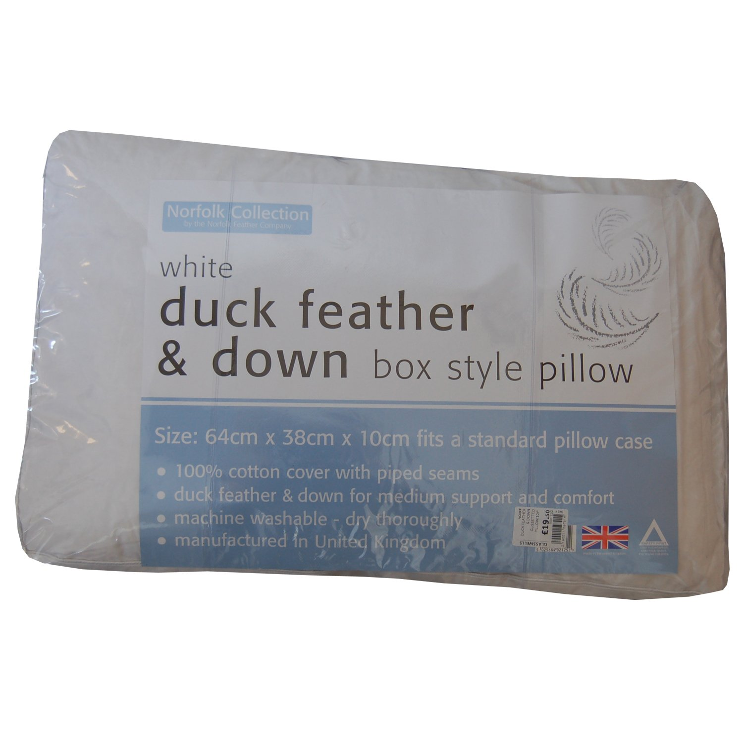 White Duck Feather & Down Box Style Pillow