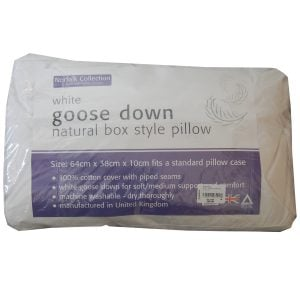 White Goose Down Natural Box Style Pillow