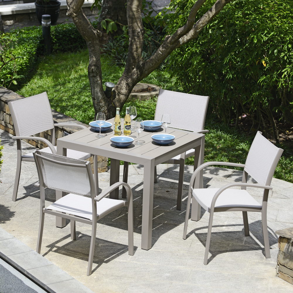Milan Square Dining Table & 4 Stacking Dining Chairs