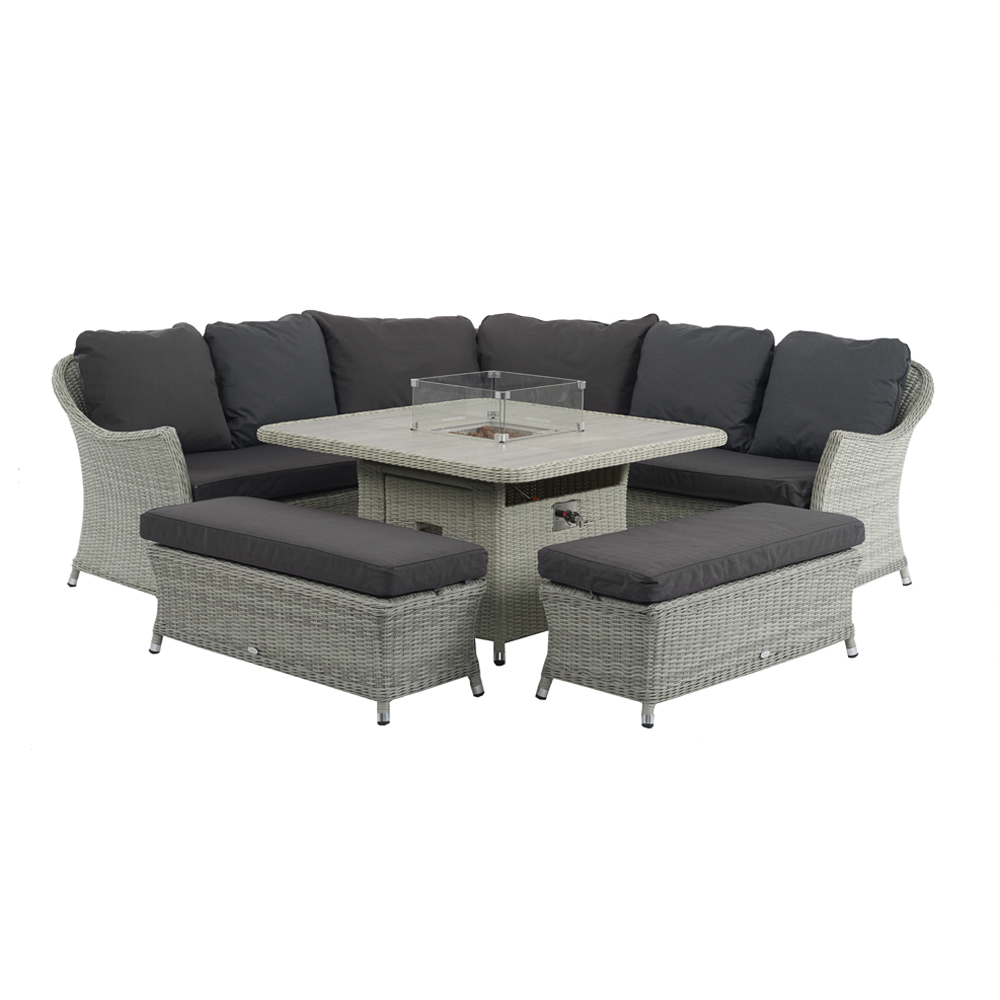 Bramblecrest Monterey Modular Sofa With Square Ceramic Casual Dining Table With Fire Pit & 2 Benches