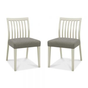 Burnham Low Slat Back Grey Washed Oak & Soft Grey Chair Pair - Titanium